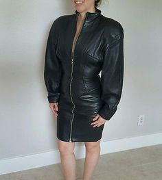 Michael Hoban north beach leather Dress 80's Retro Vintage Lined front zip P