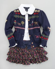 Sampler Embroidered Cardigan, Batiste Ruffle Blouse & Tartan Skirt by Ralph Lauren Childrenswear at Bergdorf Goodman.