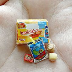 Lunchables 2 by minivenger on DeviantArt Miniature Crafts, Miniature Food, Miniature Dolls, Mini Craft, Doll Food, Cute Keychain, Keychains, Cute Polymer Clay, Tiny Food