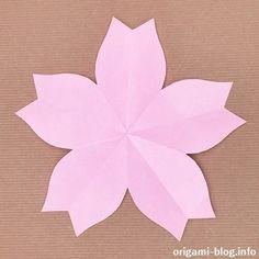 折り紙で桜の花①