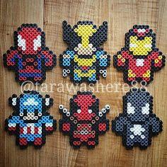 Marvel characters perler beads by tarawashere88