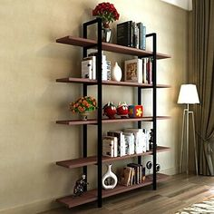 5 Tiers Shelf Industrial Bookshelf Ideas and Bookcase Rustic Wood and Metal Bookcases General Use: Home Furniture Specific Use: Bookcase Type: Living Room Furniture Style: Minimalist Modern Appearance: Modern Size: 72 Metal Bookcase, Open Bookcase, Industrial Bookshelf, Etagere Bookcase, Industrial Style, Bookcase Shelves, Book Shelves, Industrial Design Furniture, Vintage Industrial Furniture