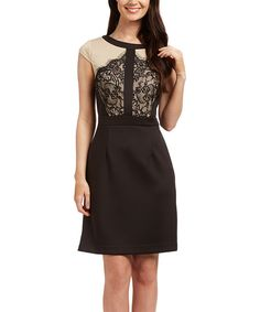 Look at this Beige & Black Lace-Bodice Sheath Dress on #zulily today!