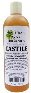 Castile Soap Sweet Orange 16 oz. (473ml) by Natural Way Organics. $7.99. 100+ uses. The mildest castile soap available. All pourpose soap from hands and body till floors and walls.. Free of artificial colors, fragrances and chemicals.. Great refreshing scent. Natural Way Organics castile liquid soap is made with our special blend of coconut, olive and jojoba organic oils together with essential oils. This Castile soap can be used on almost anything from hands a...
