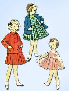 1950s Vintage Toddler's Jumper & Jacket 1955 Simplicity Vtg Sewing Pattern Sz 4 #Simplicity #TotJumper