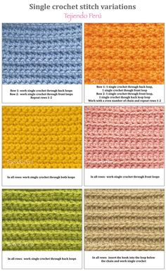 Crochet: single crochet stitch variations!6 ༺✿ƬⱤღ https://www.pinterest.com/teretegui/✿༻