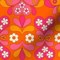 paisley heart orange custom fabric by aliceapple for sale on Spoonflower 60s Patterns, Cool Patterns, Fabric Patterns, Print Patterns, Vintage Patterns, 60s Wallpaper, Hippie Wallpaper, Pattern Wallpaper, Kitty Wallpaper