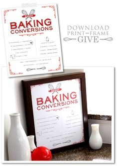 Print one for your mom's kitchen. Your aunt's kitchen. Your kitchen! A quick gift for all of the bakers in your life! Vintage Baking Chart |  Free Printable  |  TheCakeBlog.com