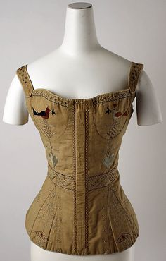 1820-1839 Cotton and SIlk Corset (the embroidery on this corset is great)