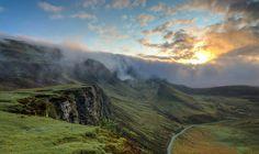 highland mountain hill landscape green grass travel view outdoor nature fog cloud sky road