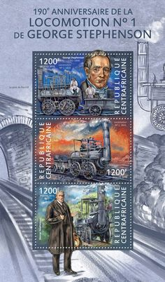 Post stamp Central African Republic CA 15115 a	190th anniversary of the locomotion No. 1 by George Stephenson (George Stephenson (1781-1848), Locomotion No. 1, 1825)