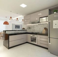 There is no question that designing a new kitchen layout for a large kitchen is much easier than for a small kitchen. Kitchen Room Design, Modern Kitchen Design, Interior Design Kitchen, Kitchen Decor, Küchen Design, House Design, Design Color, Modern Kitchen Interiors, Home Design Plans