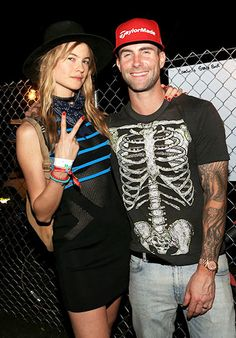 Behati Prinsloo and husband Adam Levine were too cool for school at Coachella in Indio, Calif., on Friday, April 10.
