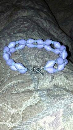 Purple paper bead bracelet