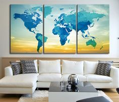 World Map Canvas Print - Contemporary 3 Panel Triptych Aqua World Map Canvas Art Large Wall Art