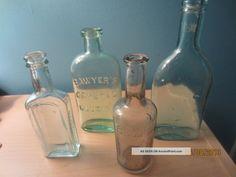 Antique Mold Blown1800s Bottle Of 3 Medicine Bottles And 1 Soap Bottle Bottles & Jars photo