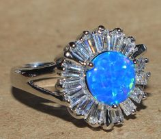 blue fire opal white topaz ring silver jewelry Sz 5.75 cocktail enagagement BZ0 #Cocktail