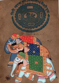 Elephant Painting Handmade Indian Miniature Animal Decor Art on Old Stamp Paper