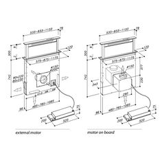 Kóty výsuvné digestoře z pracovní desky. SIRIUS: SDD2 LED / SDD2 LED TC / SDD2 TC / SDD2