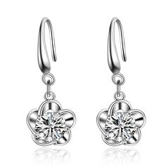 Aliexpress.com : Buy 2017 Classic Fine Jewelry For Woman Wedding Lever Back Loop Earrings Pure  925 Sterling Silver Exquisite Flower Party Gift from Reliable fine jewelry suppliers on ModaOne Jewellery Store