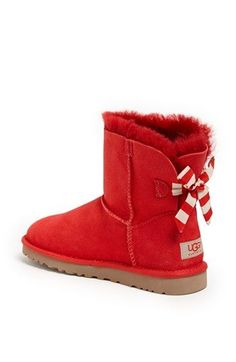 UGG® Australia 'Mini Bailey Button Bow' Boot these would be perfect for Christmas! Ugg Boots Sale, Ugg Boots Cheap, Bow Boots, Cute Boots, Red Ugg Boots, Rain Boots, Stilettos, Cute Uggs, Uggs For Cheap