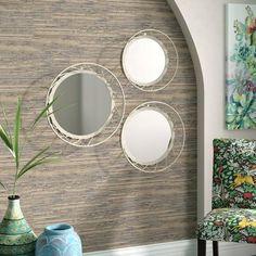 Silver Wall Mirror, Wall Mirrors Set, Vanity Wall Mirror, Round Wall Mirror, Mirror Set, Diy Mirror, Beveled Mirror, Round Mirrors, Wall Art Sets