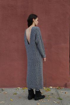 Lauren Manoogian Knit V Dress in Charcoal   Beautiful Dreamers
