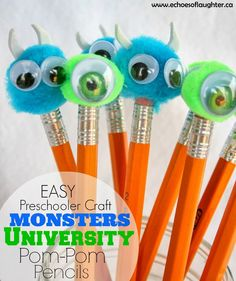 Echoes of Laughter: Monsters University Pom Pom Pencils (Craft)