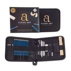 Art Set Sketching  Drawing Kit for the professional or amateur artist 33 piece set includes Pencils Graphite Charcoal Erasers Sharpeners  many other essential tools and supplies PERFECT GIFT >>> Click on the image for additional details.