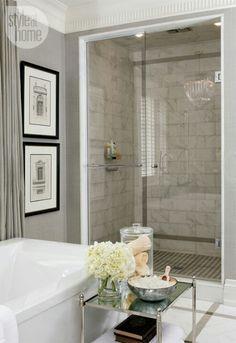 Classy bathroom [ SpecialtyDoors.com ] #bathroom #hardware #slidingdoor