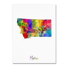Montana Map by Michael Tompsett Graphic Art on Wrapped Canvas