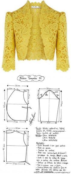 El patrón del bolero del guipur las dimensiones europeas (la Costura y el corte) Dress Sewing Patterns, Blouse Patterns, Sewing Patterns Free, Clothing Patterns, Vogue Patterns, Vintage Patterns, Vintage Sewing, Bolero Pattern, Jacket Pattern