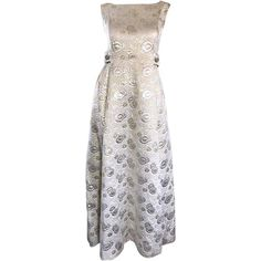 Amazing 1960s Demi Couture Silver and Gold Silk Brocade Rhinestone Vintage Gown | From a collection of rare vintage evening-gowns at https://www.1stdibs.com/fashion/clothing/evening-dresses/evening-gowns/