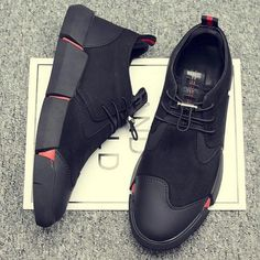 NEW Brand High quality all Black Men's leather casual shoes Fashion Breathable Sneakers fashion flats big plus size 45 46 Black Casual Shoes, Black Sneakers, Casual Sneakers, Leather Sneakers, Leather Men, Sneakers Fashion, Fashion Shoes, Shoes Sneakers, Black Leather