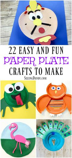 These DIY paper plate crafts are so easy to make and perfect for many of the kids school holiday parties. #diy #crafts #paperplatecrafts
