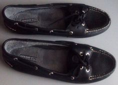 $26 + Free shipping ~ Sperry Top-Sider Skiff Womens 9 M Black Leather Fleece Lined Deck Boat Shoes EUC #SperryTopSider #BoatShoes #Casual