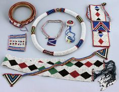 South Africa | Zulu beaded jewellery includes necklaces, pendants, bracelets and belts | Prior to 1920s | 380£ the lot ~ sold (May11)