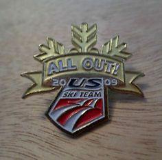 US Ski Team Button Pin, Enamel Logo, All Out! 2009, Olympic Memorabilia USA $9.99