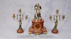 French Empire Antique Clock Set Garniture Cherub Gilt Candelabras