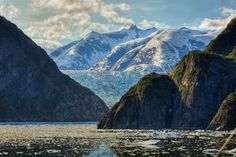 Levels of Nature:  Alaskan landscape - we see the Tracy Arm fjord with the impressive Sawyer glacier lurking behind and mountains soaring above all