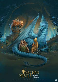 Clara Vath, Fantasy Illustration: Drachenmutter mit Babys / Drachen-Familie