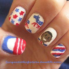 Obama Nails Us Election, Design Tutorials, Nail Art Designs, Obama, Whimsical