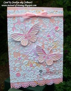 handcrafted card: The Joy of Flutterbies ... two die cut butterflies ... wonderful background made with embossing folder and markers ... great card!