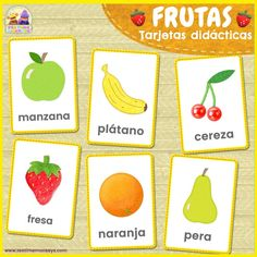 Enjoy these lovely FRUITS picture-word flashcards! The words included this set are: apple, banana, cherry, orange, pear and strawberry. Perfect for teaching fruits and healthy-eating units! Flashcards For Toddlers, Color Flashcards, Printable Shapes, Fruits For Kids, Fruit Picture, Picture Cards, Preschool Crafts, Free Preschool, Preschool Worksheets