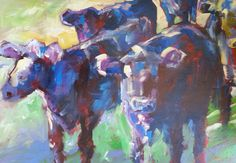 Pauline Gough: Mixed Media Art. www.artfind/... www.mangawhaiarti... © Pauline Gough. This image may not be reproduced or copied in whole or part without prior consent of the owner. All rights reserved.  Abstract Cows, acrylic on boxed canvas, 90 x 50cm