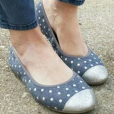 Old Navy Denim Polka-dot Glitter Toe Flats Size 5 Super Cute, light and comfy flats from Old Navy. Size 5 Good preloved condition. Old Navy Shoes Flats & Loafers