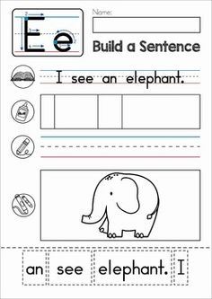 phonics letter of the week b build a sentence cut and paste activity with cvc words for. Black Bedroom Furniture Sets. Home Design Ideas