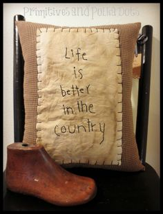 Handmade Life is Better Pillow by Primitives and Polka Dots