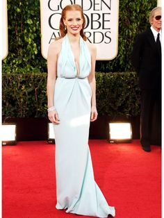 Jessica Chastain at the Golden Globes. #redcarpet #fashion http://www.ivillage.com/golden-globes-2013-best-and-worst-dressed/1-b-514363#514914