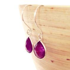 Purple Earrings Purple Amethyst earrings purple stone por AinaKai, $34.00